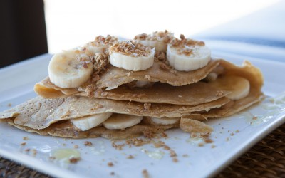 Peanut Butter Honey Granola Crepes recipe by AmazingFoodie.com!
