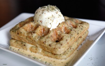 Savory Paleo Waffles with Poached Eggs and Hollandaise Sauce!