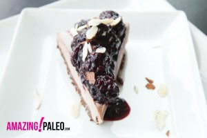 RAW Dark Chocolate Blackberry Paleo Cheesecake recipe!