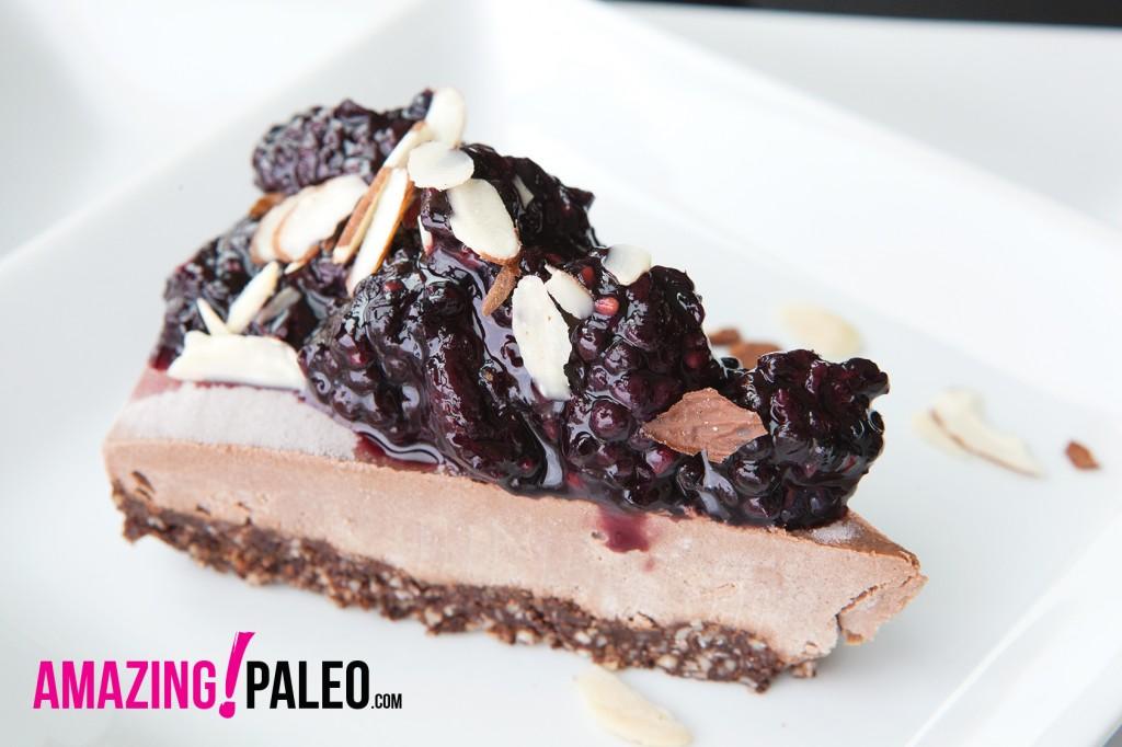 RAW Dark Chocolate Blackberry Paleo Cheesecake recipe!