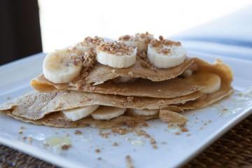 Peanut Butter Honey Granola Crepes recipe by AmazingFoodie.com!