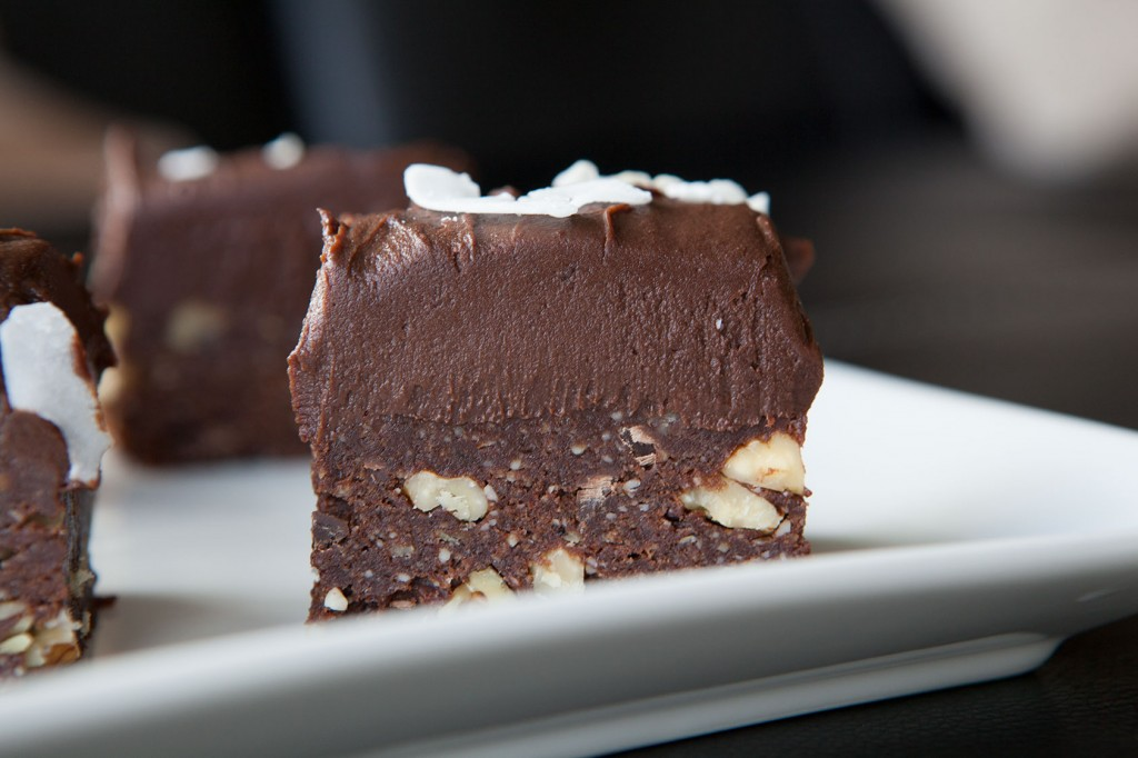 No Bake Double Layer Brownies. Paleo and Vegan recipe!