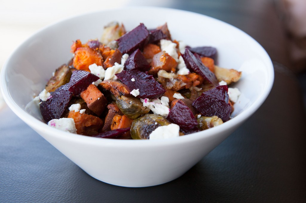 Roasted Sweet Potatoes and Brussels Sprouts with Feta and Beets. Great side dish recipe!