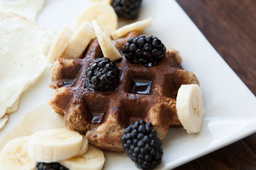Paleo Almond Flour Waffles with Maple Syrup and Berries recipe!