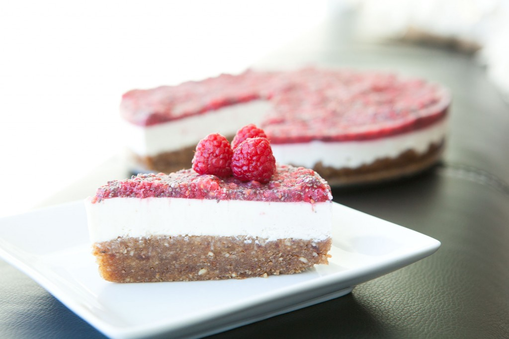 RAW Raspberry Chia Paleo Cheesecake