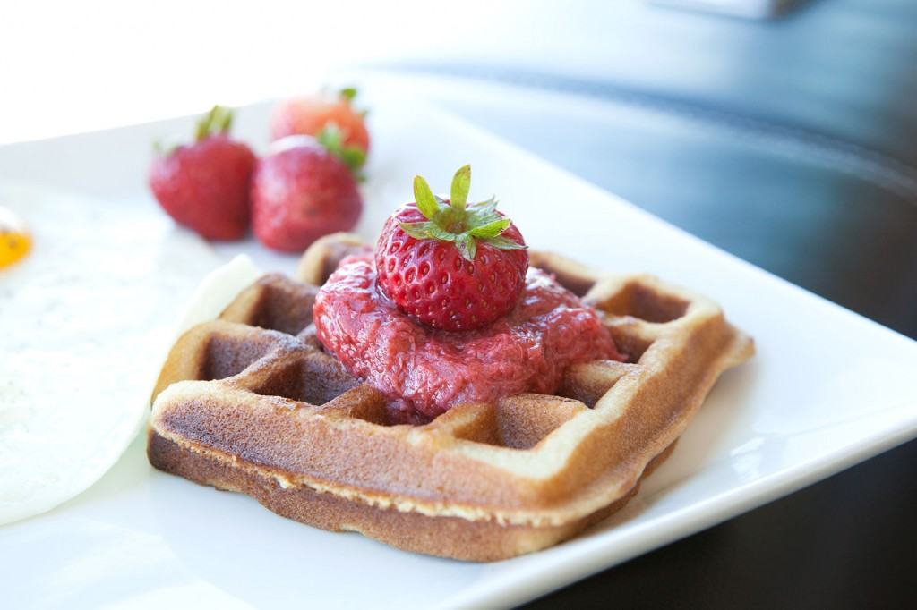 Strawberry Macadamia Nut Waffles
